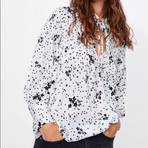 Zara White Floral Star Smocked Long Sleeve Top